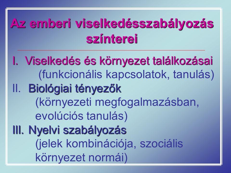 Az emberi viselkedésszabályozás színterei I. Viselkedés és környezet találkozásai (funkcionális kapcsolatok, tanulás) Biológiai tényezők II. Biológiai