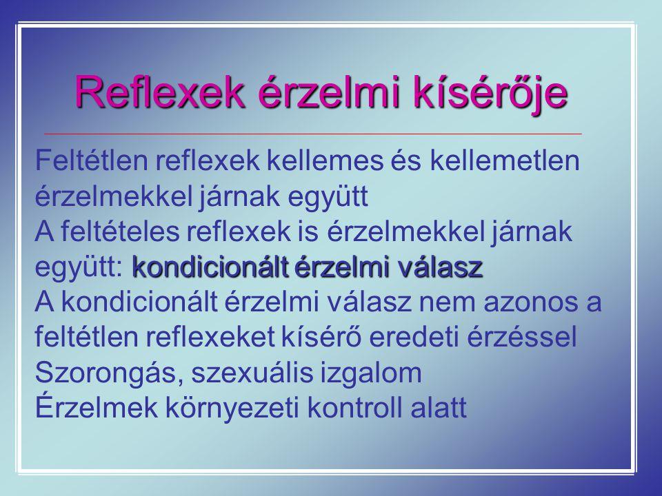 Reflexek érzelmi kísérője Feltétlen reflexek kellemes és kellemetlen érzelmekkel járnak együtt kondicionált érzelmi válasz A feltételes reflexek is ér