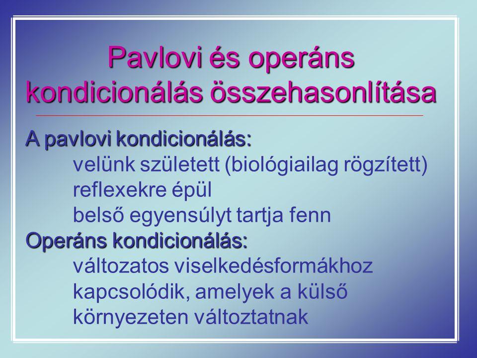 Pavlovi és operáns kondicionálás összehasonlítása A pavlovi kondicionálás: velünk született (biológiailag rögzített) reflexekre épül belső egyensúlyt