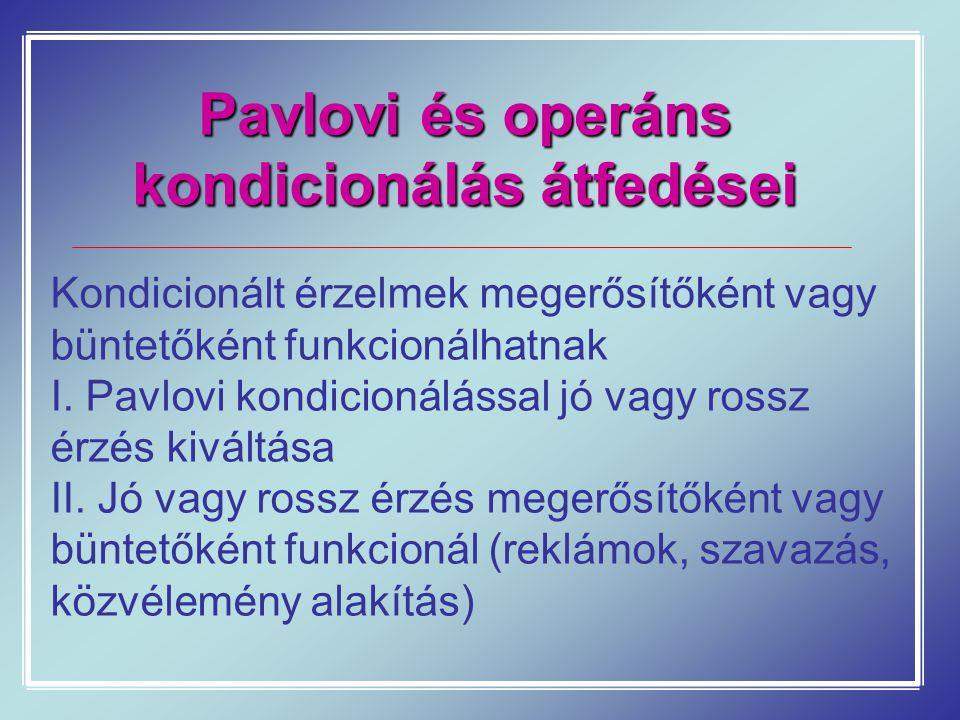 Pavlovi és operáns kondicionálás átfedései Kondicionált érzelmek megerősítőként vagy büntetőként funkcionálhatnak I. Pavlovi kondicionálással jó vagy