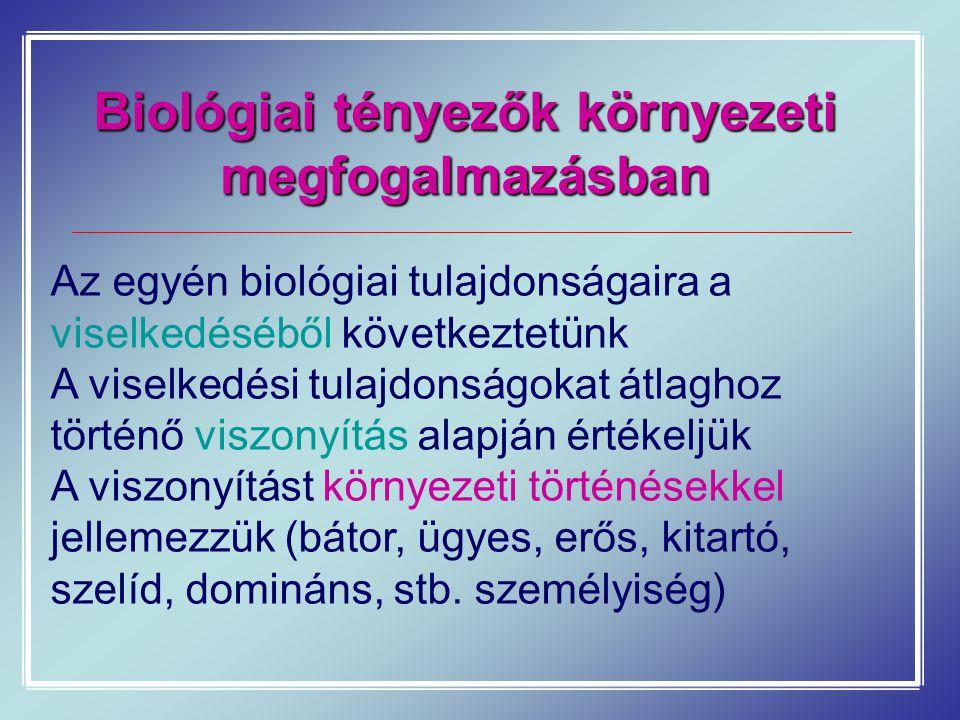 Biológiai tényezők környezeti megfogalmazásban Az egyén biológiai tulajdonságaira a viselkedéséből következtetünk A viselkedési tulajdonságokat átlagh