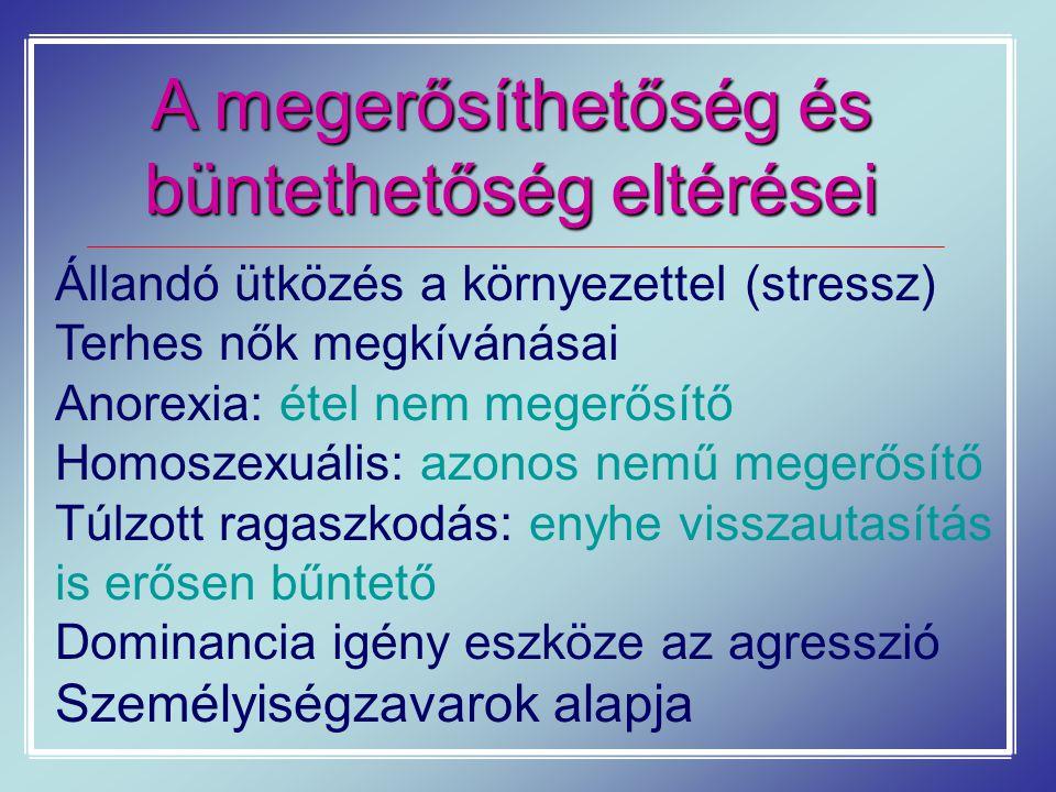 A megerősíthetőség és büntethetőség eltérései Állandó ütközés a környezettel (stressz) Terhes nők megkívánásai Anorexia: étel nem megerősítő Homoszexu