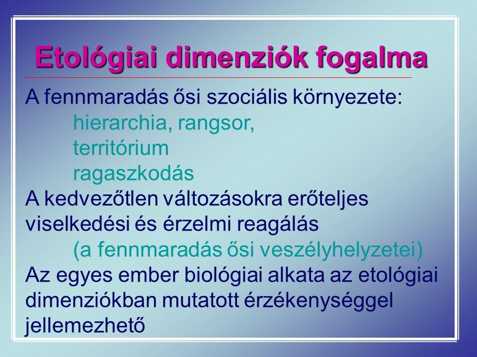 Etológiai dimenziók fogalma A fennmaradás ősi szociális környezete: hierarchia, rangsor, territórium ragaszkodás A kedvezőtlen változásokra erőteljes
