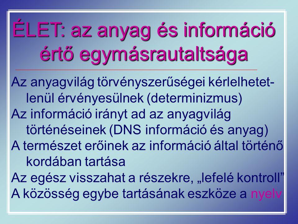 ÉLET: az anyag és információ értő egymásrautaltsága Az anyagvilág törvényszerűségei kérlelhetet- lenül érvényesülnek (determinizmus) Az információ irá