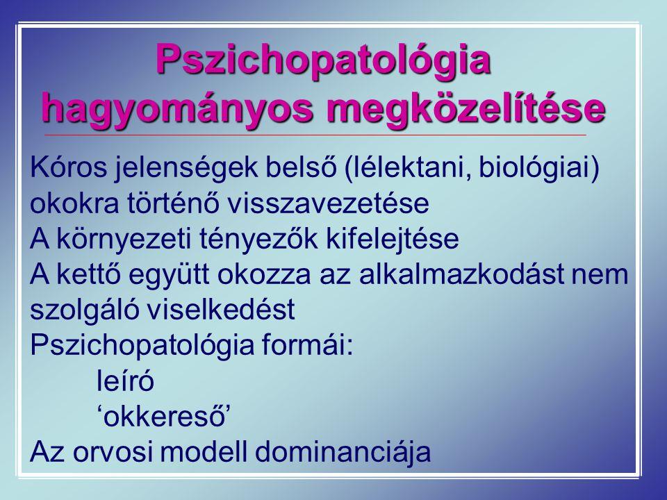 Pszichopatológia hagyományos megközelítése Kóros jelenségek belső (lélektani, biológiai) okokra történő visszavezetése A környezeti tényezők kifelejté