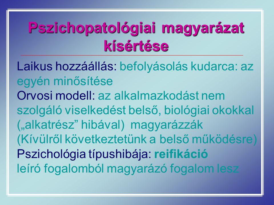 Pszichopatológiai magyarázat kísértése Laikus hozzáállás: befolyásolás kudarca: az egyén minősítése Orvosi modell: az alkalmazkodást nem szolgáló vise