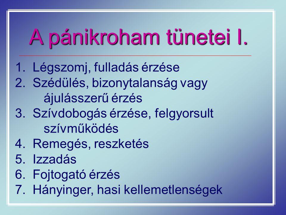 A pánikroham tünetei I. 1. Légszomj, fulladás érzése 2. Szédülés, bizonytalanság vagy ájulásszerű érzés 3. Szívdobogás érzése, felgyorsult szívműködés