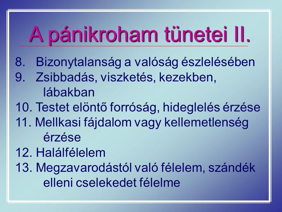 A pánikroham tünetei II. 8. Bizonytalanság a valóság észlelésében 9. Zsibbadás, viszketés, kezekben, lábakban 10. Testet elöntő forróság, hideglelés é