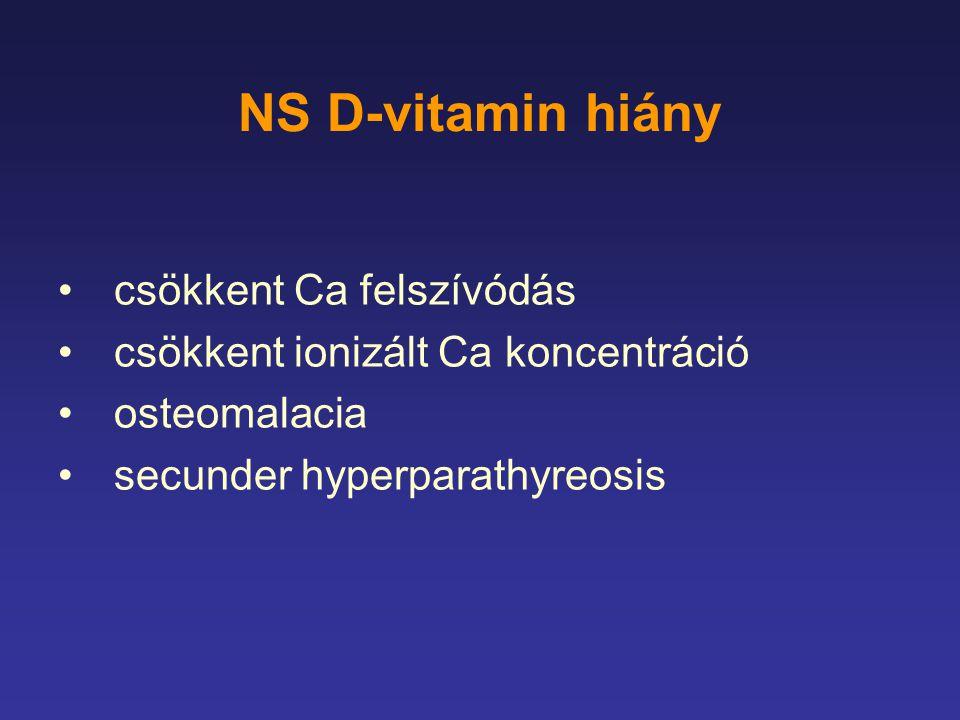 NS D-vitamin hiány csökkent Ca felszívódás csökkent ionizált Ca koncentráció osteomalacia secunder hyperparathyreosis