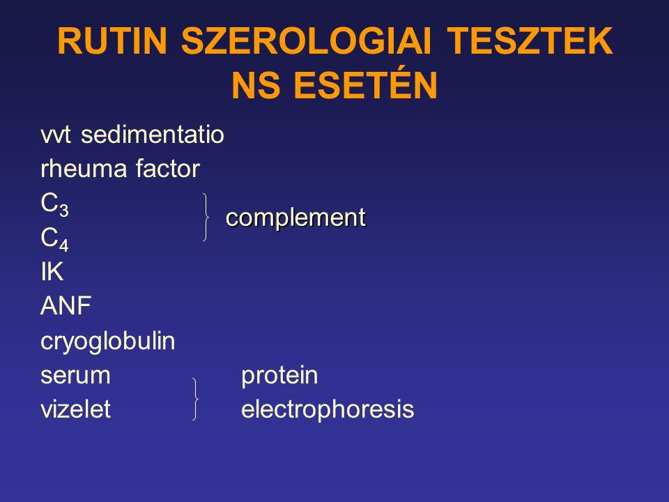 RUTIN SZEROLOGIAI TESZTEK NS ESETÉN vvt sedimentatio rheuma factor C 3 C 4 IK ANF cryoglobulin serumprotein vizeletelectrophoresis complement