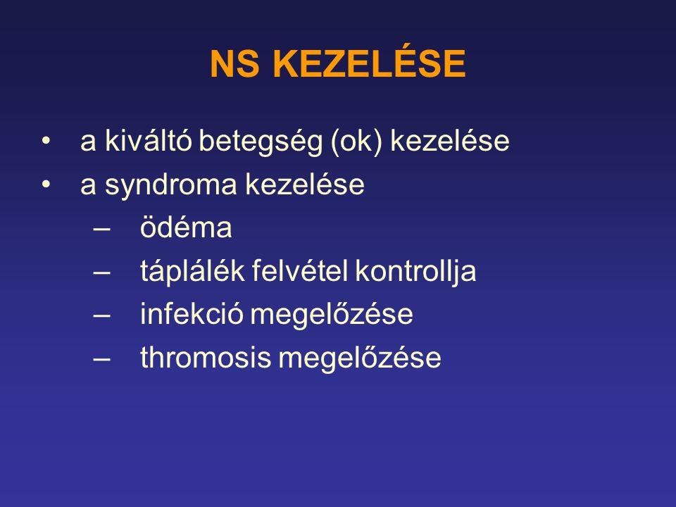 NS KEZELÉSE a kiváltó betegség (ok) kezelése a syndroma kezelése –ödéma –táplálék felvétel kontrollja –infekció megelőzése –thromosis megelőzése
