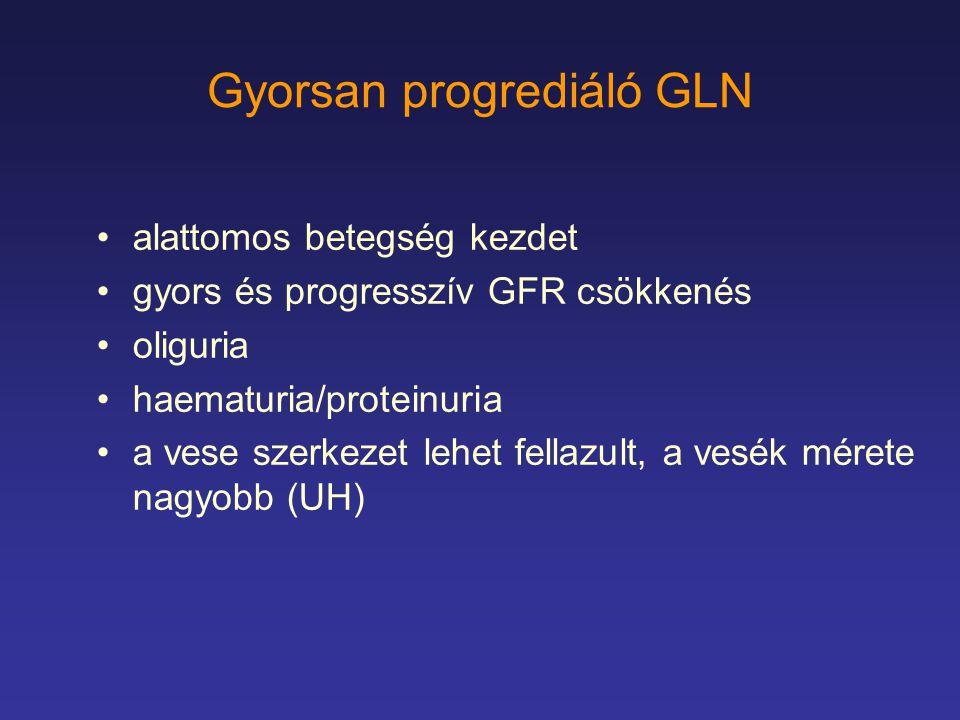 Gyorsan progrediáló GLN alattomos betegség kezdet gyors és progresszív GFR csökkenés oliguria haematuria/proteinuria a vese szerkezet lehet fellazult,