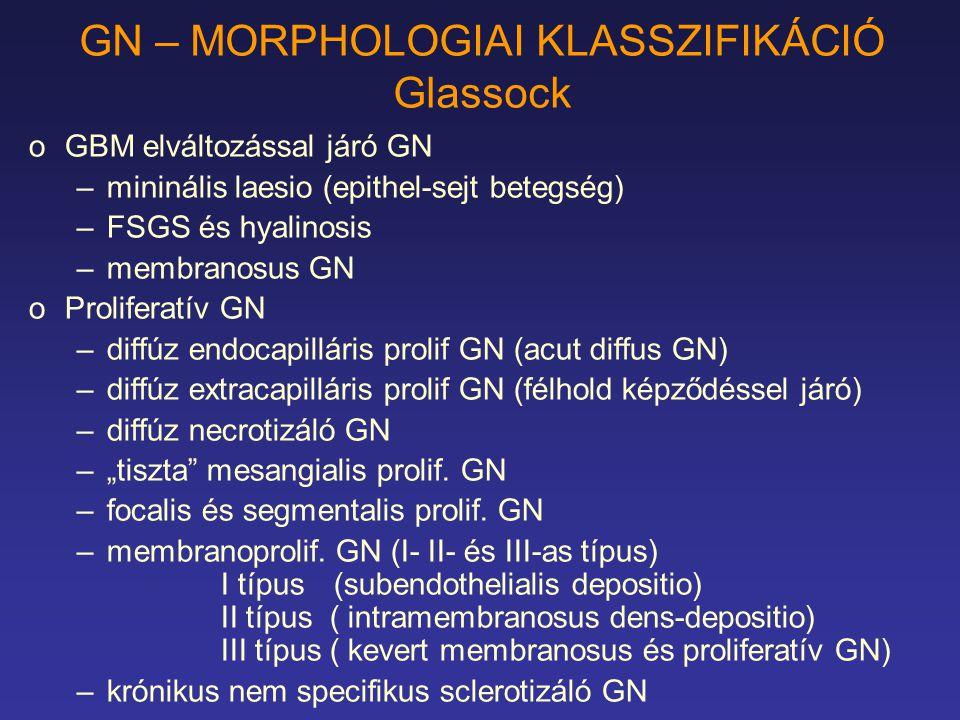 GN – MORPHOLOGIAI KLASSZIFIKÁCIÓ Glassock oGBM elváltozással járó GN –mininális laesio (epithel-sejt betegség) –FSGS és hyalinosis –membranosus GN oPr