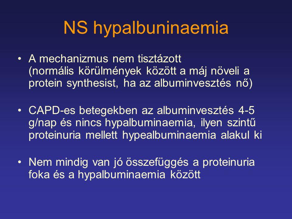 NS hypalbuninaemia A mechanizmus nem tisztázott (normális körülmények között a máj növeli a protein synthesist, ha az albuminvesztés nő) CAPD-es beteg