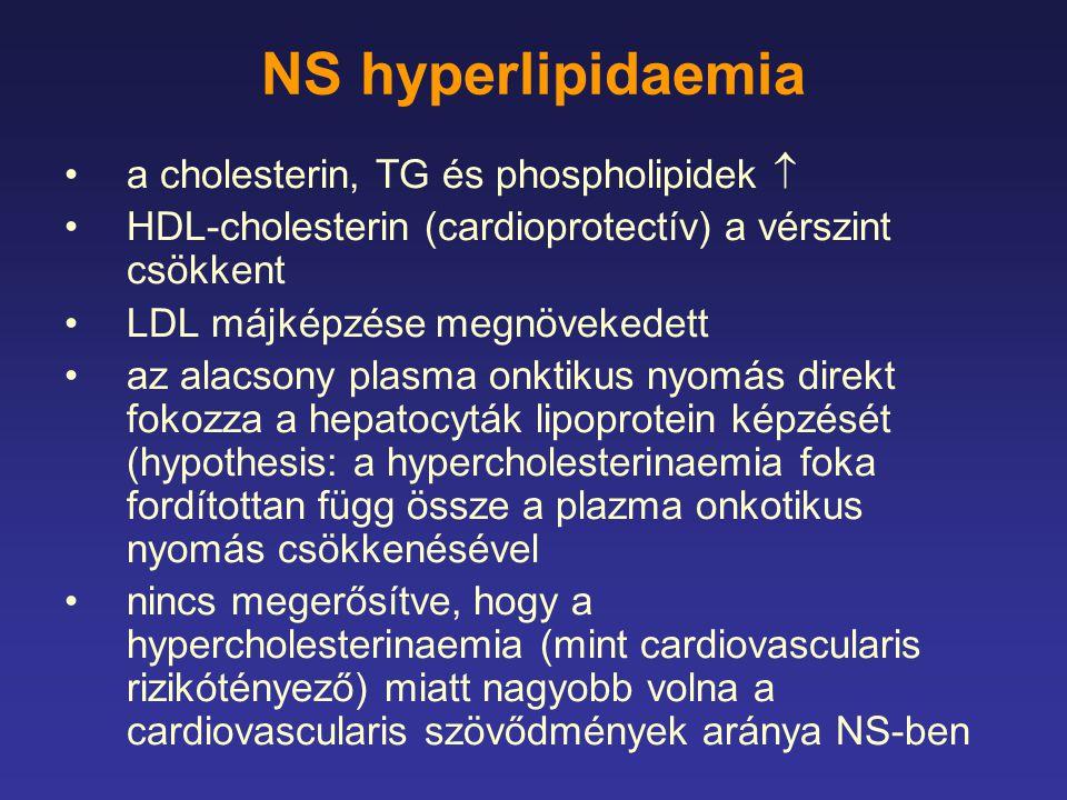 NS hyperlipidaemia a cholesterin, TG és phospholipidek  HDL-cholesterin (cardioprotectív) a vérszint csökkent LDL májképzése megnövekedett az alacson