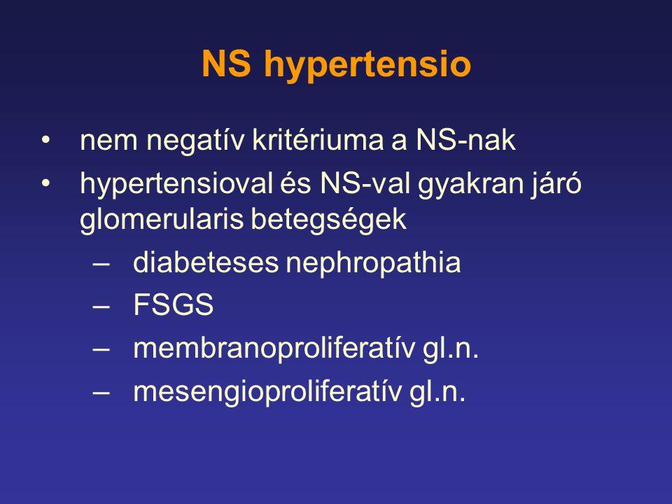 NS hypertensio nem negatív kritériuma a NS-nak hypertensioval és NS-val gyakran járó glomerularis betegségek –diabeteses nephropathia –FSGS –membranop