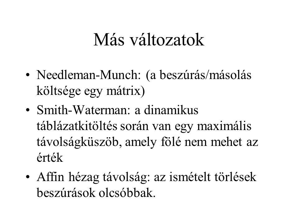 Más változatok Needleman-Munch: (a beszúrás/másolás költsége egy mátrix) Smith-Waterman: a dinamikus táblázatkitöltés során van egy maximális távolság