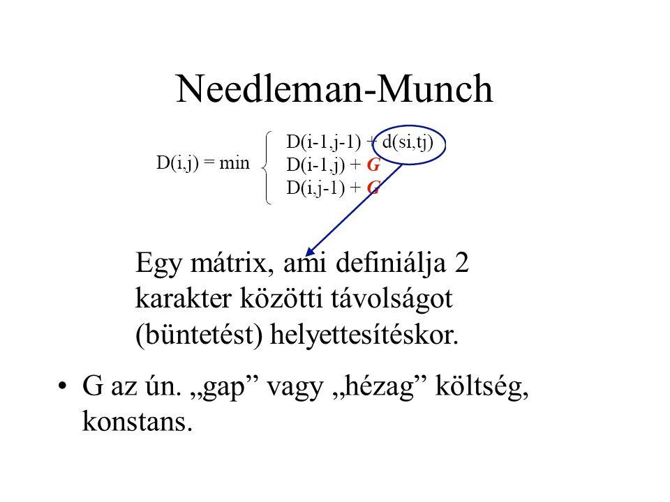 """Needleman-Munch G az ún. """"gap"""" vagy """"hézag"""" költség, konstans. Egy mátrix, ami definiálja 2 karakter közötti távolságot (büntetést) helyettesítéskor."""