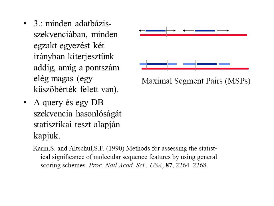 3.: minden adatbázis- szekvenciában, minden egzakt egyezést két irányban kiterjesztünk addig, amíg a pontszám elég magas (egy küszöbérték felett van).