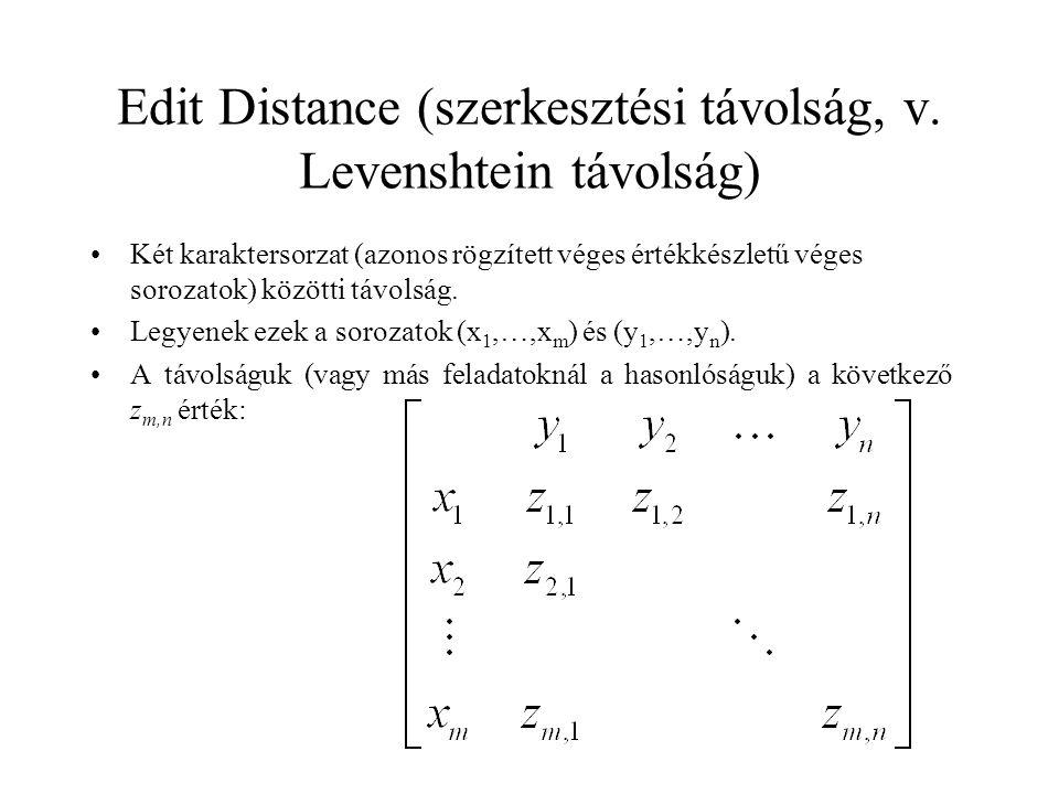 Edit Distance (szerkesztési távolság, v. Levenshtein távolság) Két karaktersorzat (azonos rögzített véges értékkészletű véges sorozatok) közötti távol
