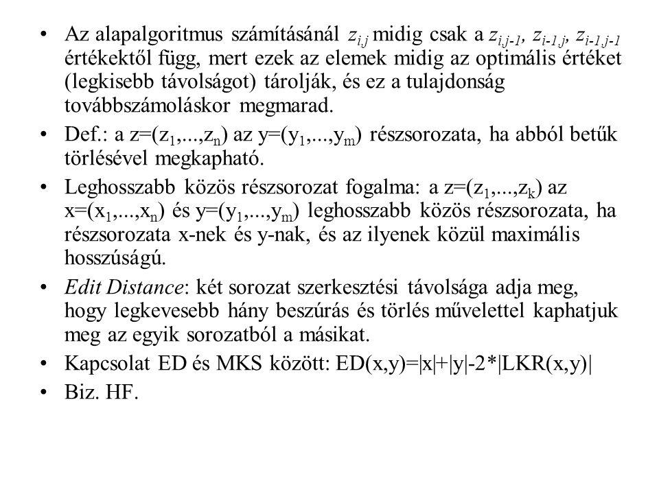 Az alapalgoritmus számításánál z i,j midig csak a z i,j-1, z i-1,j, z i-1,j-1 értékektől függ, mert ezek az elemek midig az optimális értéket (legkise