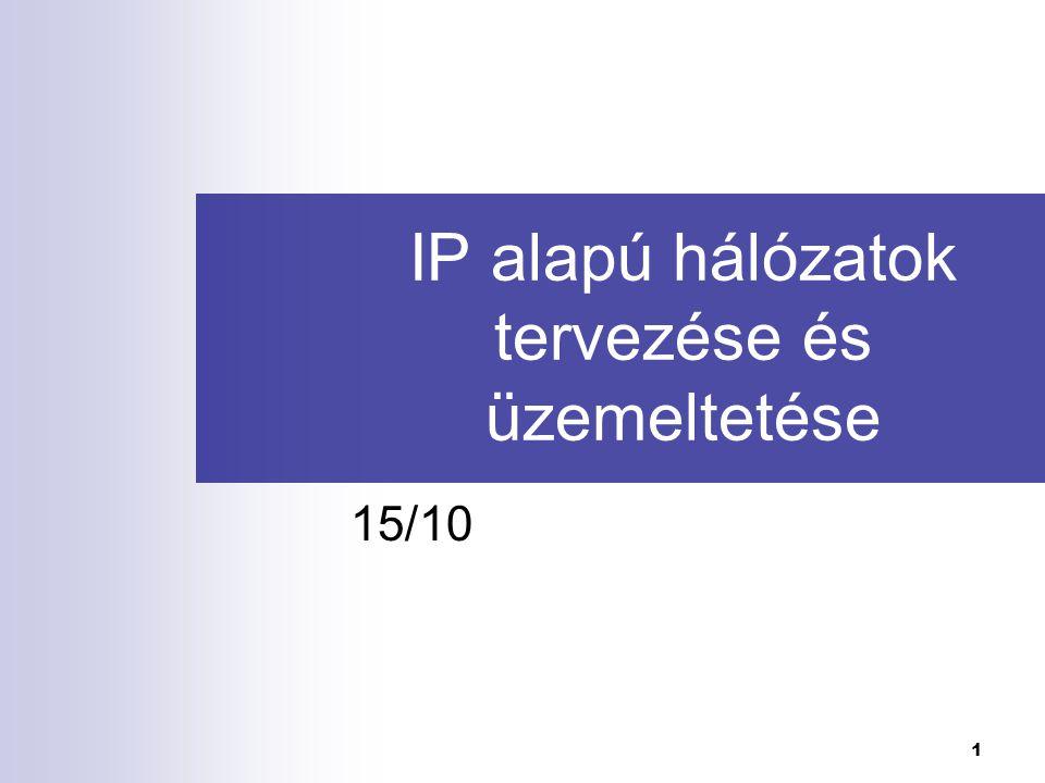 IP alapú hálózatok tervezése és üzemeltetése I.32 2.