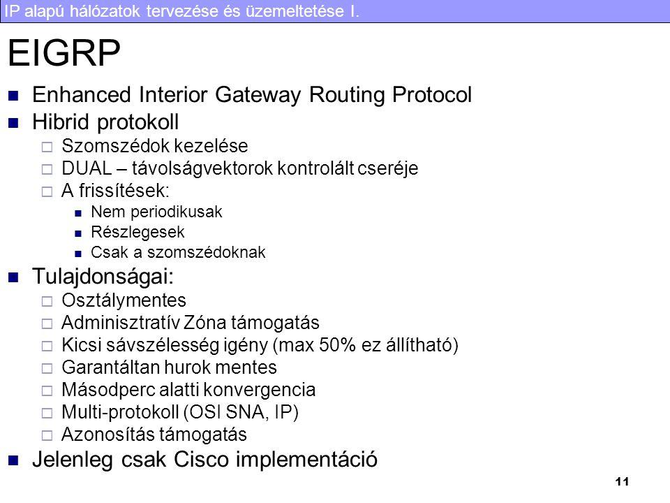 IP alapú hálózatok tervezése és üzemeltetése I. 11 EIGRP Enhanced Interior Gateway Routing Protocol Hibrid protokoll  Szomszédok kezelése  DUAL – tá