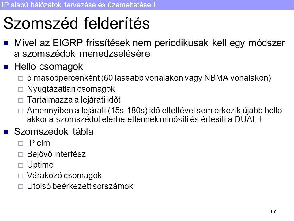 IP alapú hálózatok tervezése és üzemeltetése I. 17 Szomszéd felderítés Mivel az EIGRP frissítések nem periodikusak kell egy módszer a szomszédok mened