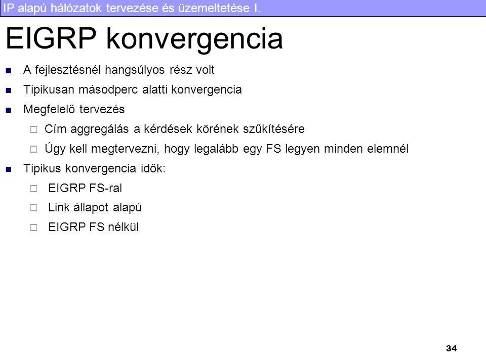 IP alapú hálózatok tervezése és üzemeltetése I. 34 EIGRP konvergencia A fejlesztésnél hangsúlyos rész volt Tipikusan másodperc alatti konvergencia Meg