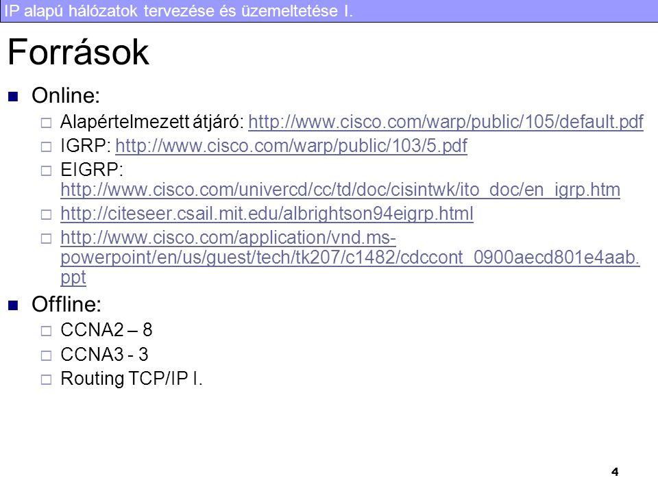 IP alapú hálózatok tervezése és üzemeltetése I. 4 Források Online:  Alapértelmezett átjáró: http://www.cisco.com/warp/public/105/default.pdfhttp://ww