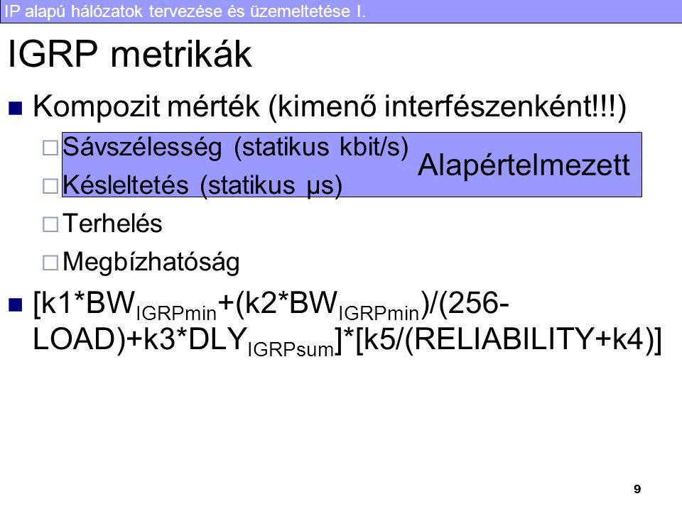 IP alapú hálózatok tervezése és üzemeltetése I. 9 IGRP metrikák Kompozit mérték (kimenő interfészenként!!!)  Sávszélesség (statikus kbit/s)  Késlelt