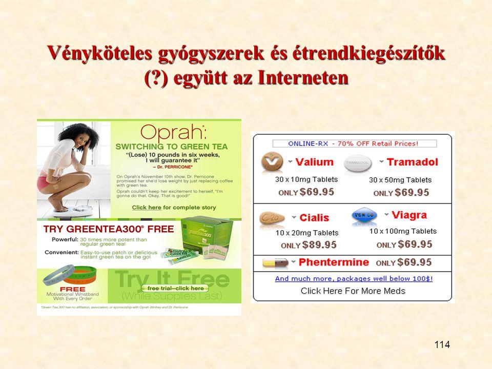 114 Vényköteles gyógyszerek és étrendkiegészítők (?) együtt az Interneten