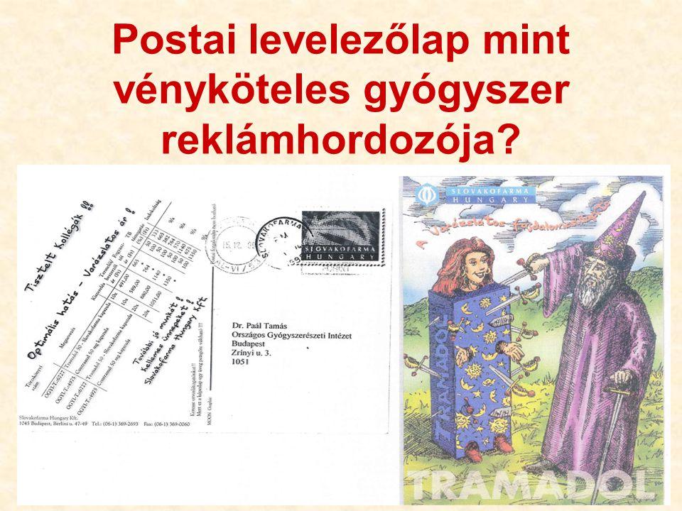36 Postai levelezőlap mint vényköteles gyógyszer reklámhordozója?
