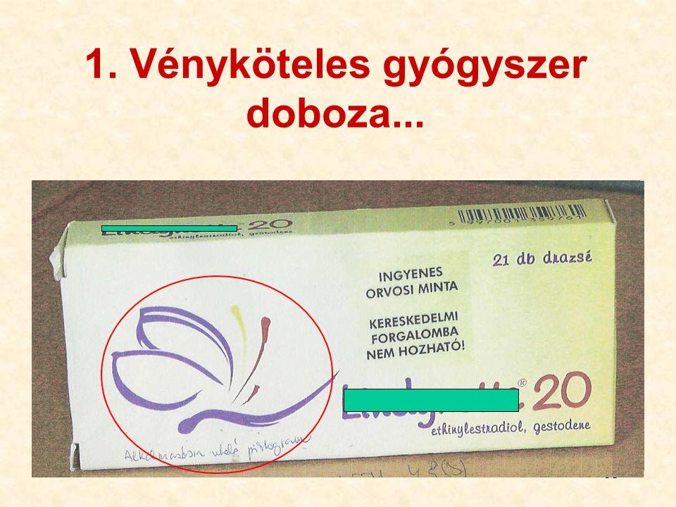38 1. Vényköteles gyógyszer doboza...