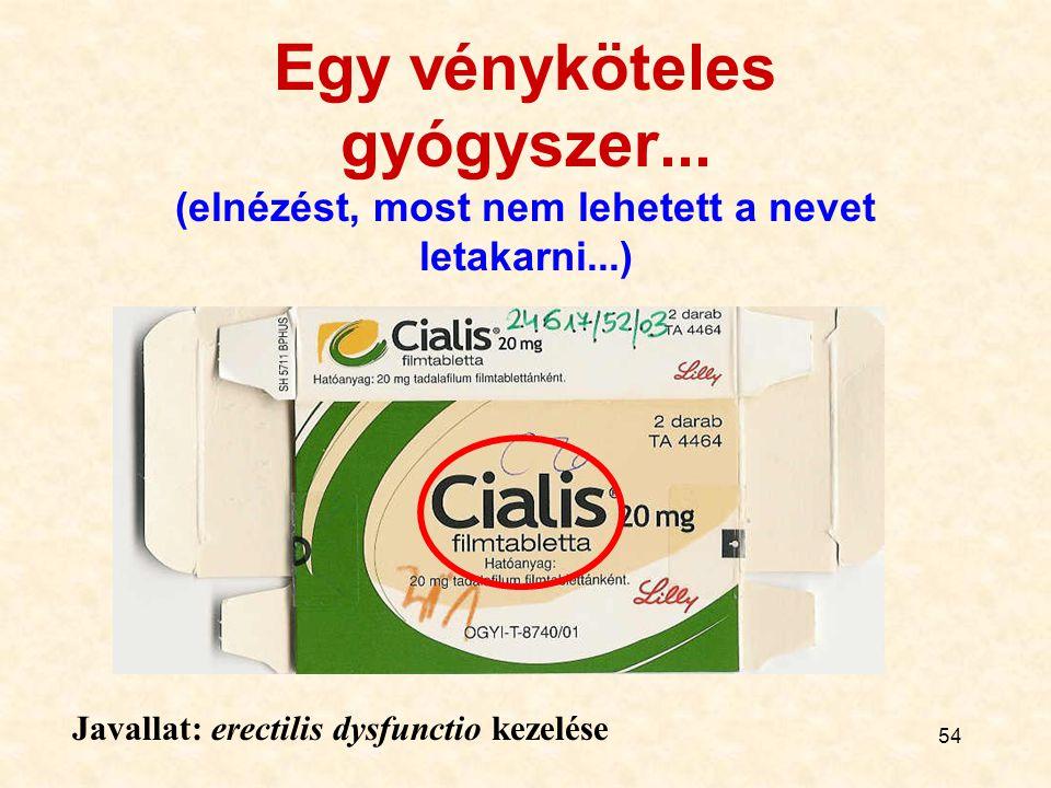 54 Egy vényköteles gyógyszer... (elnézést, most nem lehetett a nevet letakarni...) Javallat: erectilis dysfunctio kezelése