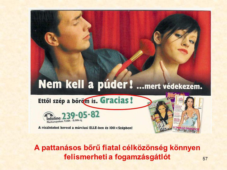 57 A pattanásos bőrű fiatal célközönség könnyen felismerheti a fogamzásgátlót