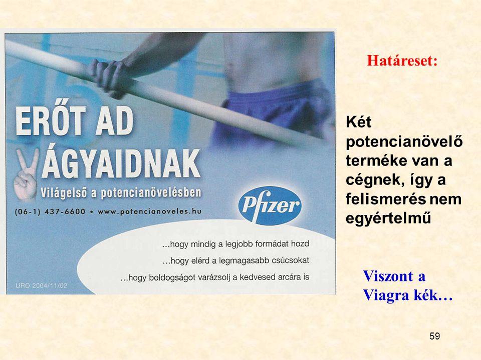 59 Két potencianövelő terméke van a cégnek, így a felismerés nem egyértelmű Határeset: Viszont a Viagra kék…