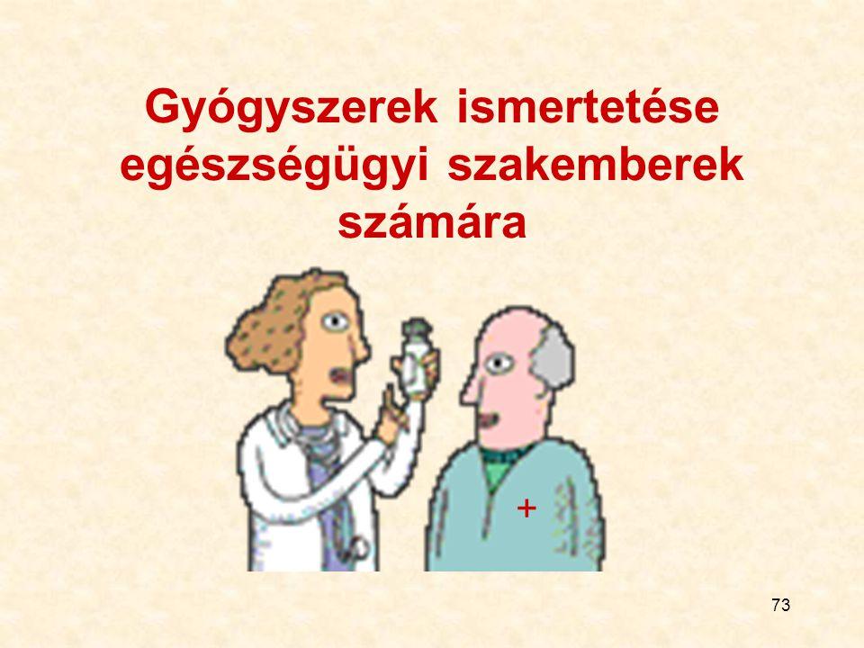 73 Gyógyszerek ismertetése egészségügyi szakemberek számára +