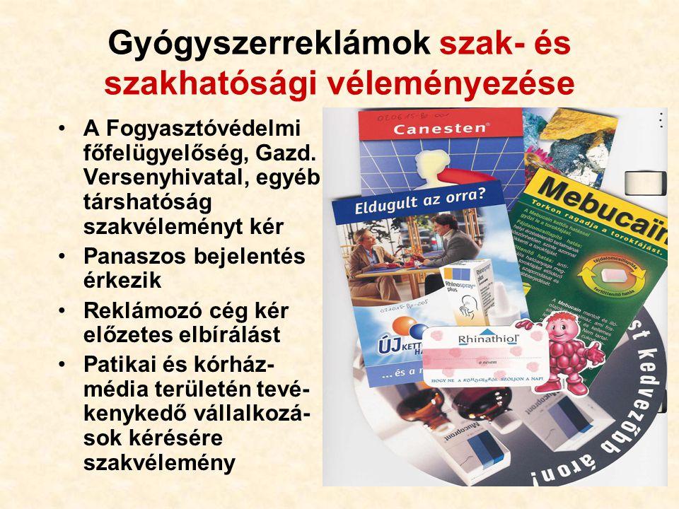 97 Gyógyszerreklámok szak- és szakhatósági véleményezése A Fogyasztóvédelmi főfelügyelőség, Gazd.