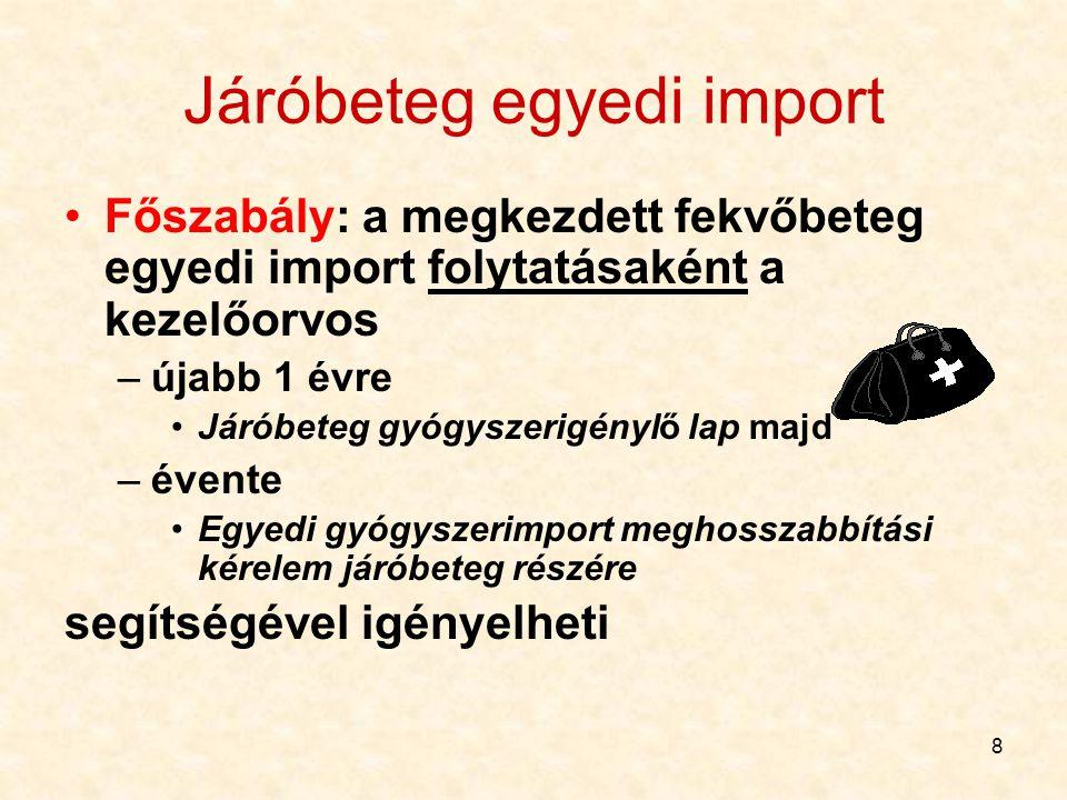 9 Járóbeteg egyedi import Kivételesen, ha nem kell kórházi beállítás: szakorvos, indoklással, közvetlenül Járóbetegek esetében mindig vényt is mellékelni kell 30 napi gyógyszeradagra!