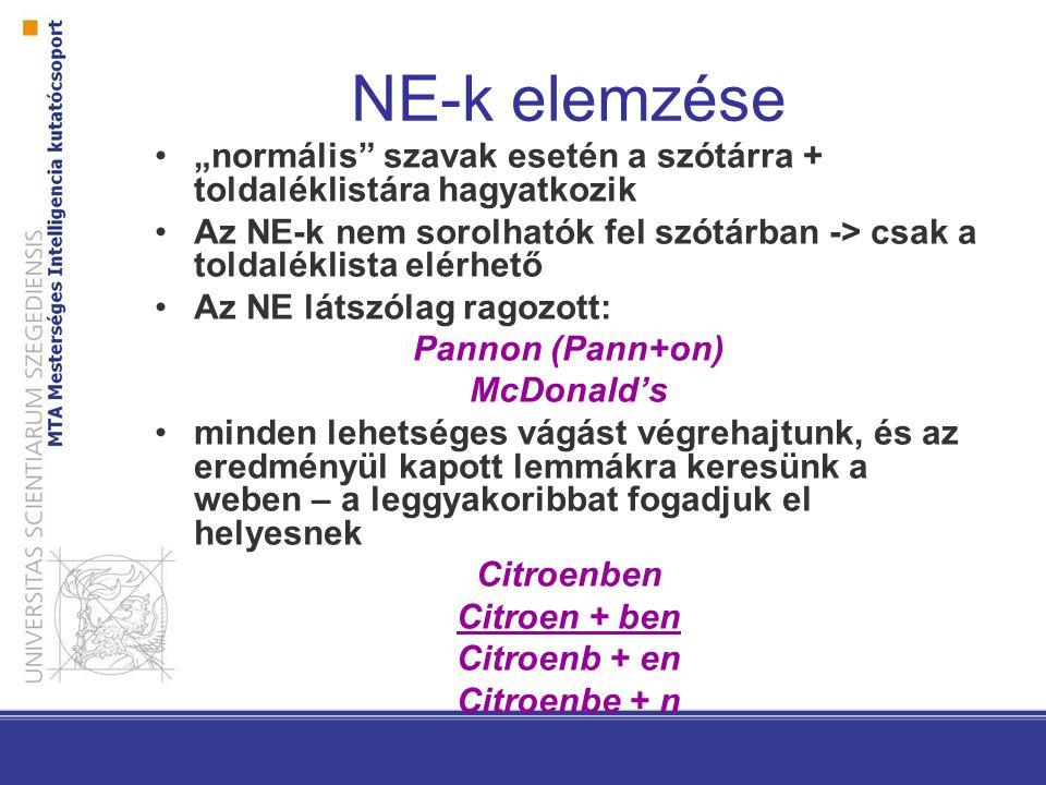 """NE-k elemzése """"normális szavak esetén a szótárra + toldaléklistára hagyatkozik Az NE-k nem sorolhatók fel szótárban -> csak a toldaléklista elérhető Az NE látszólag ragozott: Pannon (Pann+on) McDonald's minden lehetséges vágást végrehajtunk, és az eredményül kapott lemmákra keresünk a weben – a leggyakoribbat fogadjuk el helyesnek Citroenben Citroen + ben Citroenb + en Citroenbe + n"""