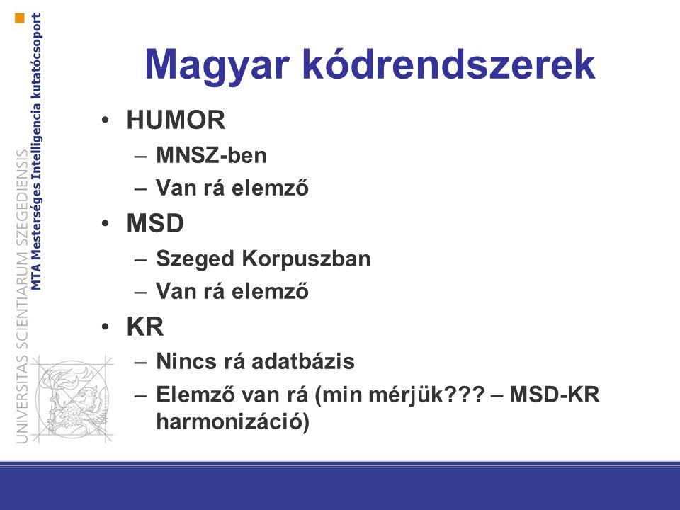 Magyar kódrendszerek HUMOR –MNSZ-ben –Van rá elemző MSD –Szeged Korpuszban –Van rá elemző KR –Nincs rá adatbázis –Elemző van rá (min mérjük??.