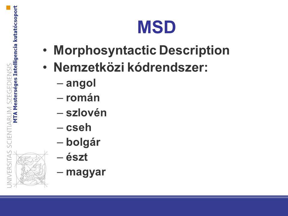 MSD Morphosyntactic Description Nemzetközi kódrendszer: –angol –román –szlovén –cseh –bolgár –észt –magyar