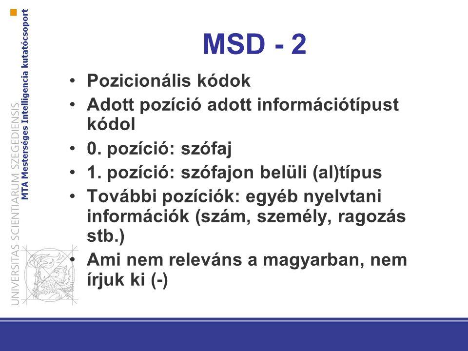 MSD - 2 Pozicionális kódok Adott pozíció adott információtípust kódol 0.