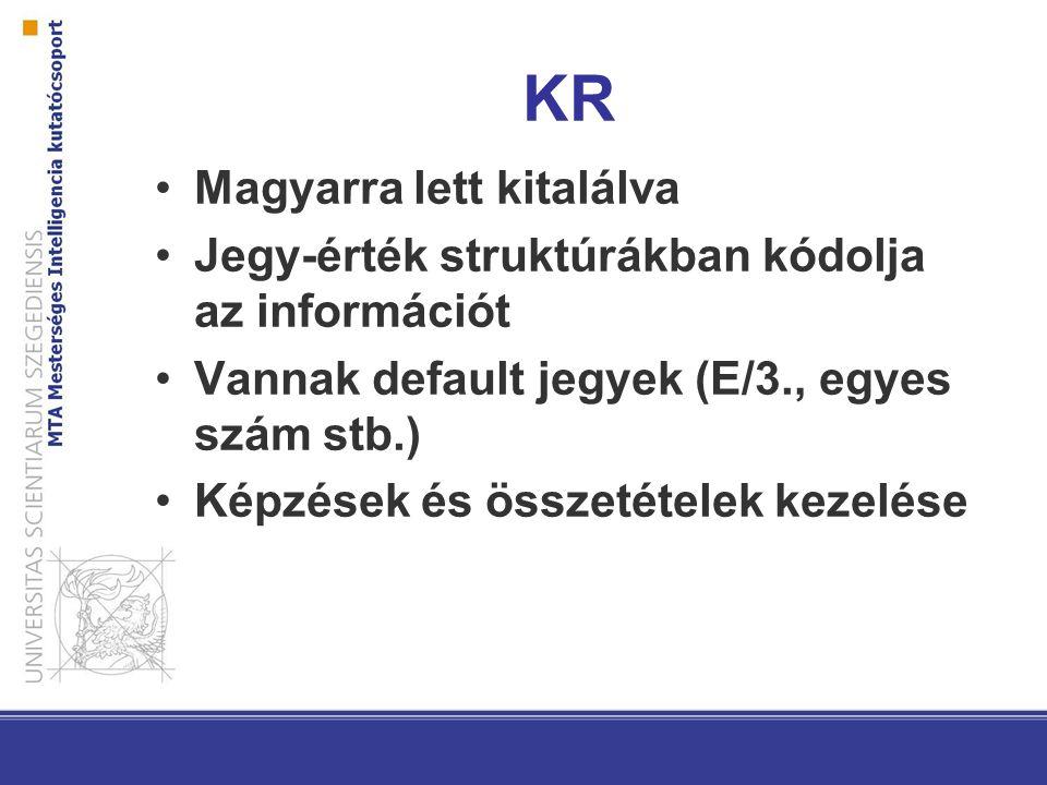KR Magyarra lett kitalálva Jegy-érték struktúrákban kódolja az információt Vannak default jegyek (E/3., egyes szám stb.) Képzések és összetételek kezelése
