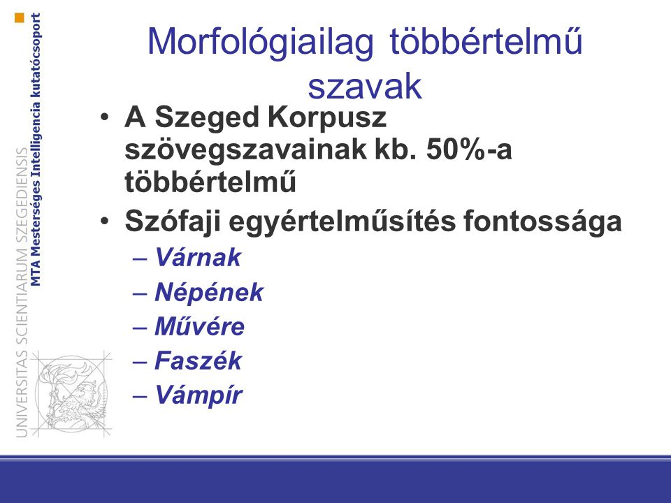 Morfológiailag többértelmű szavak A Szeged Korpusz szövegszavainak kb.