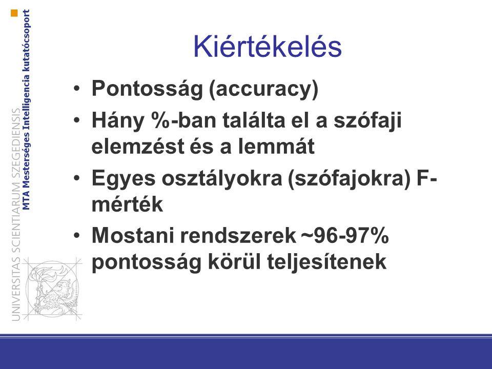 Kiértékelés Pontosság (accuracy) Hány %-ban találta el a szófaji elemzést és a lemmát Egyes osztályokra (szófajokra) F- mérték Mostani rendszerek ~96-97% pontosság körül teljesítenek