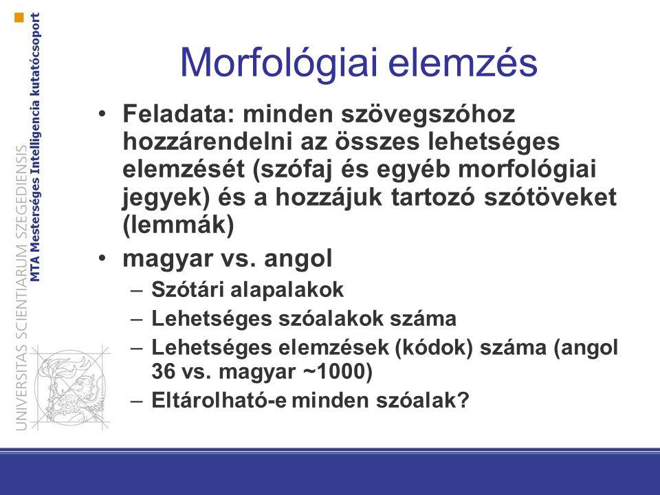 Morfológiai elemzés Feladata: minden szövegszóhoz hozzárendelni az összes lehetséges elemzését (szófaj és egyéb morfológiai jegyek) és a hozzájuk tartozó szótöveket (lemmák) magyar vs.