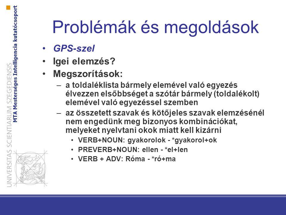 KR-MSD harmonizáció Szeged-Pest együttműködésben KR-ből: gyakorító, műveltető, ható igék kezelése, köznév és tulajdonnév megkülönböztetésének eltörlése MSD-ből: névmások elkülönítése, határozószók fokozhatósága Egységes morfológiai elemző és átalakított Szeged Korpusz 2.5 folyamatban…