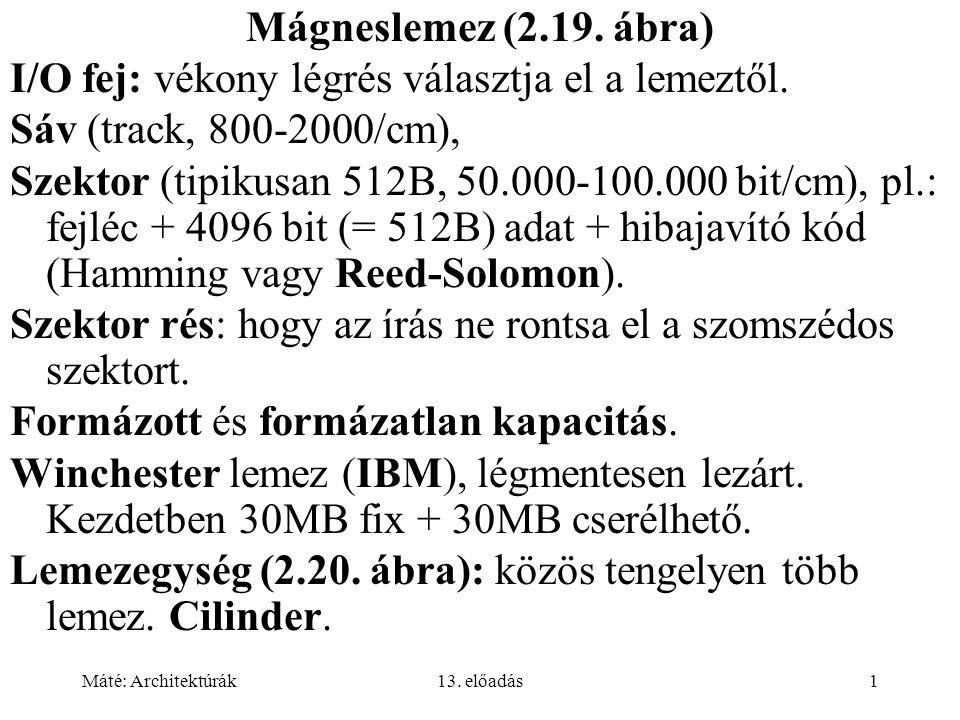 Máté: Architektúrák13.előadás1 Mágneslemez (2.19.